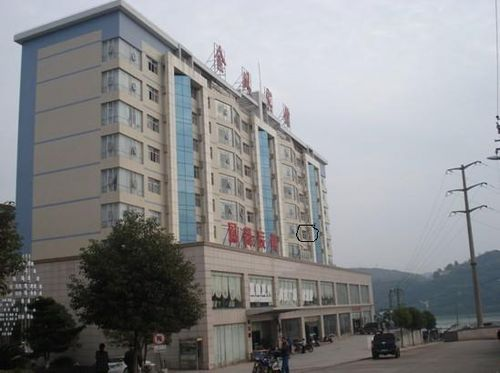 Hotel with window circled