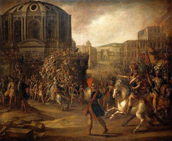 Juan_de_la_Corte_-_Battle_Scene_with_a_Roman_Army_Besieging_a_Large_City_-_WGA05366
