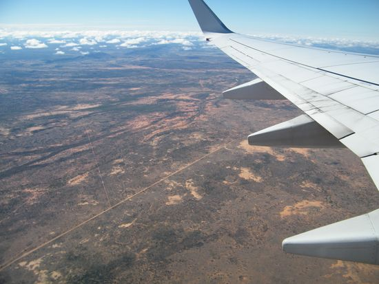 Alice Springs to Sydney, over Australia's Northern Territory