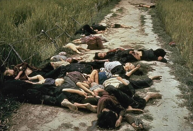 The My Lai Massacre, the mass murder of 347 to 504 unarmed citizens of the Republic of Vietnam (South Vietnam), almost entirely civilians and the majority of them women and children, perpetrated by US Army forces on March 16 1968. Bodies of some of the vi