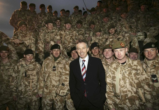 Tony Blair Meets With British Troops in Basra