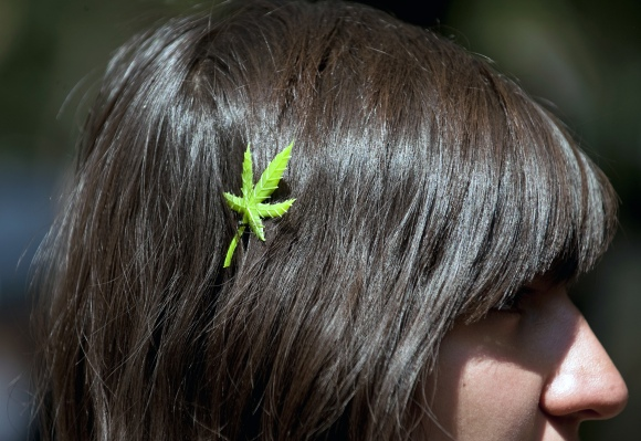 A woman wears a Marijuana hair slide dur