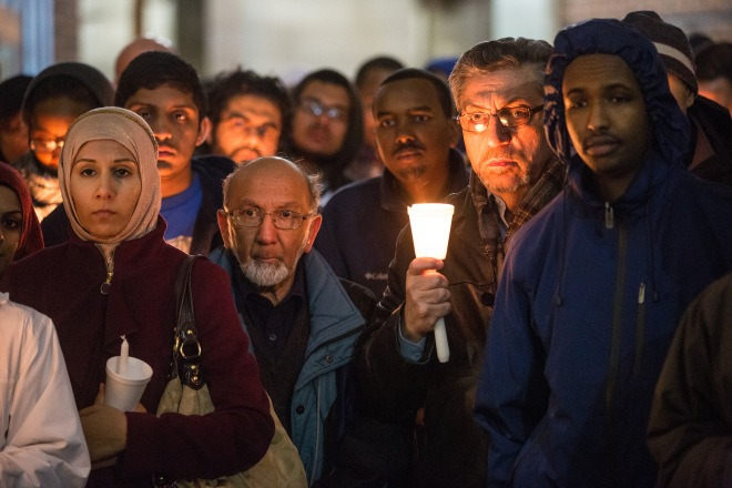 Islamic Society Holds Vigil For Marathon Bombing Victims