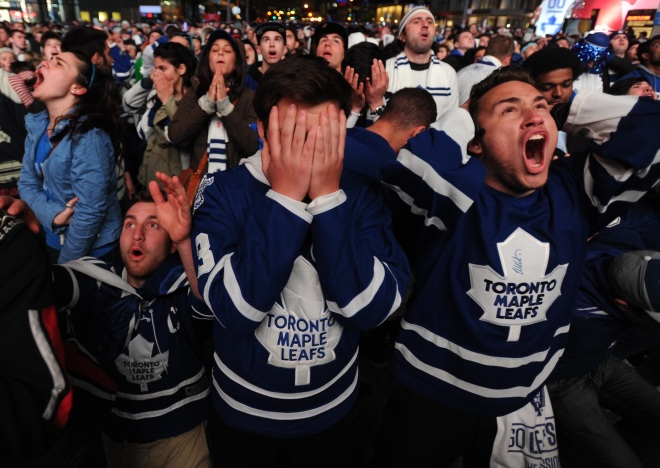 Toronto Maple Leafs Fans Watching Stanley Cup Game At Tailgate Party In Toronto