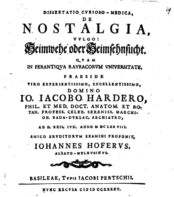 clinical wistfulness the dish swiss physician johannes hofer coined the term in his 1688 medical dissertation from the greek nostos or homecoming and algos or pain