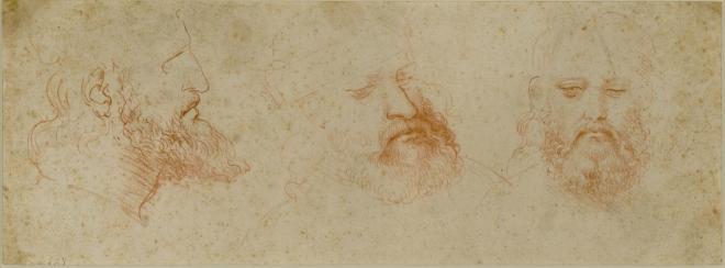 15. Leonardo_Three Views of a Bearded Man