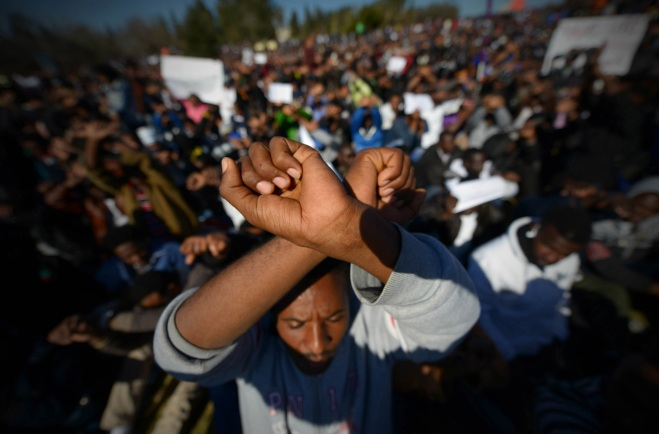 African migrants rally outside the Knesset