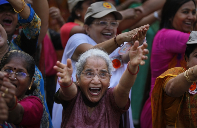 Senior Citizens Participate In World Laughter Day