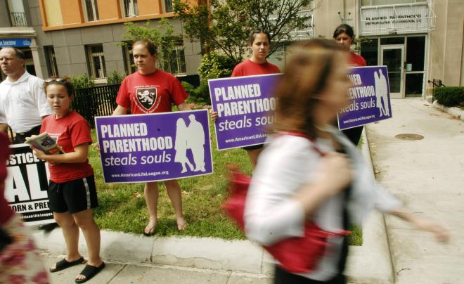 Anti-abortion activists protest outside