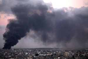 Smoke trails over Gaza city