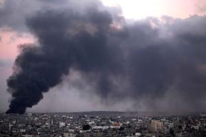 Smoke trails over Gaza city