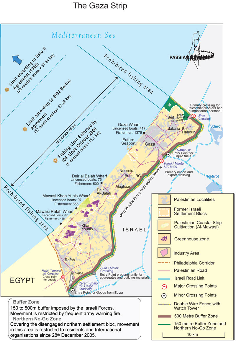 Detailed map of the Gaza Strip Maps of the Middle East North