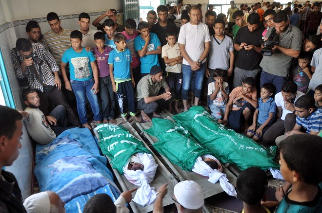 Funeral of eight Palestinians from the al-Louh family in Gaza