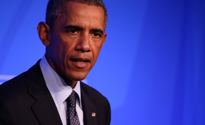 US President Barack Obama holds press conference in Newport