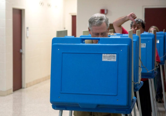 Sen. Mitch McConnell (R-KY) Casts His Vote In Midterm Elections