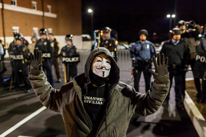 Protest Outside Ferguson Police Department