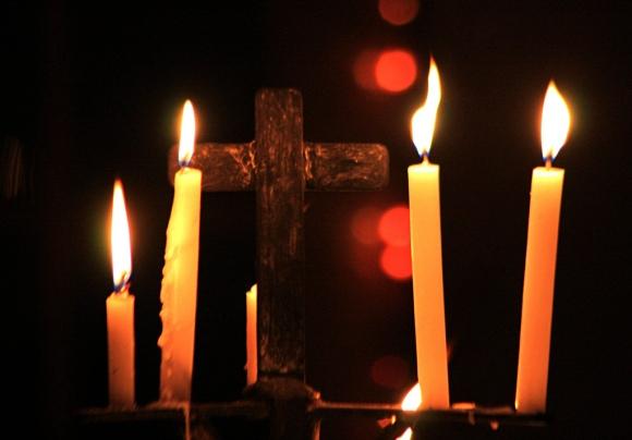 Burning candle at Nagaon Church on the x-mas day.