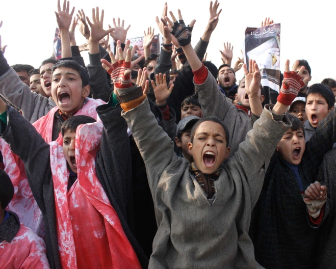 Kashmiri Shiite Boys Protest Over Peshawar Terror Attack In Pakistan