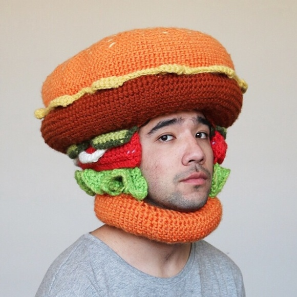 Hamburger-Crocheted-Hat
