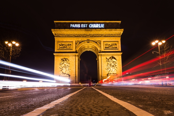 'Paris Est Charlie - Paris Is Charlie' -  Projected Onto The Arc De Triomphe