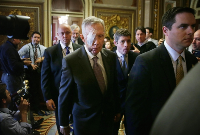 Harry Reid Returns To Capitol Hill After Sports Injury