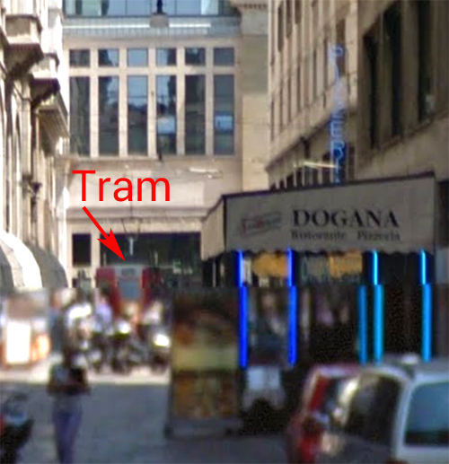 close up streetview w tram