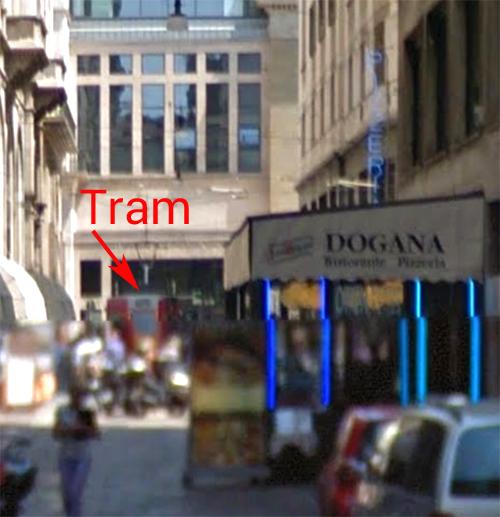 close up streetview w tram